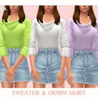 Sweater & Denim Skirt By Black Lily