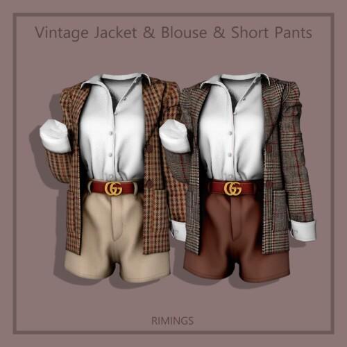 Vintage Jacket & Blouse & Short Pants