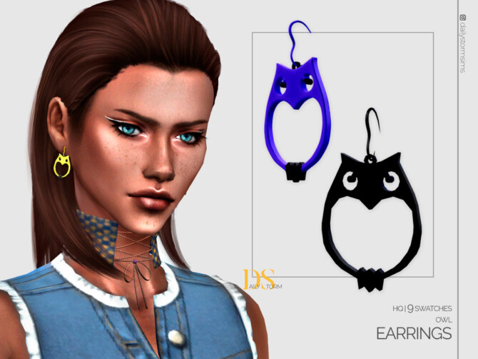 Sims 4 Owl Earrings by DailyStorm at TSR