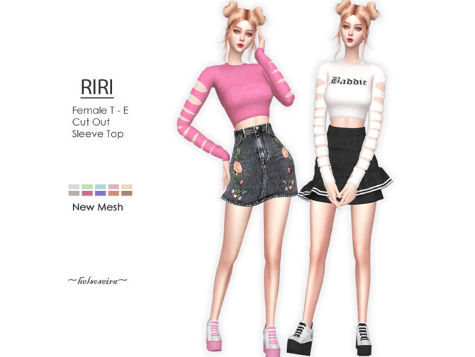 Sims 4 RIRI Cut Out Top by Helsoseira at TSR