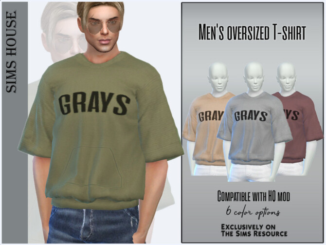Sims 4 Mens oversized T shirt by Sims House at TSR