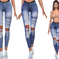 Casual Ripped Jeans With Belt By Saliwa
