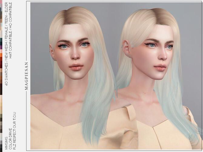 Sims 4 Color Drive Hair by magpiesan at TSR