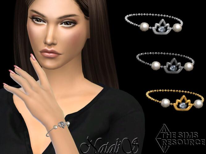 Lotus Pearl Chain Bracelet By Natalis