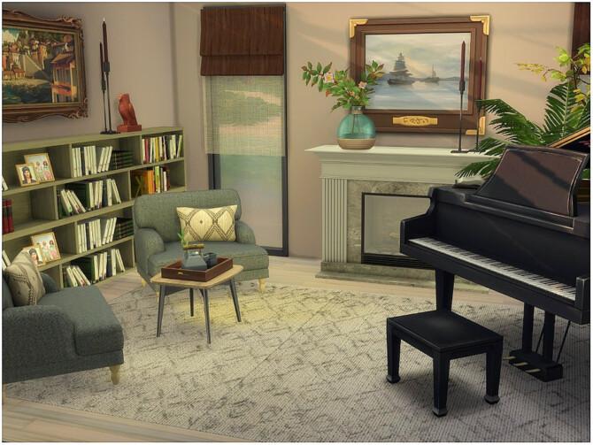 Sims 4 Cozy Corner Living Room by lotsbymanal at TSR