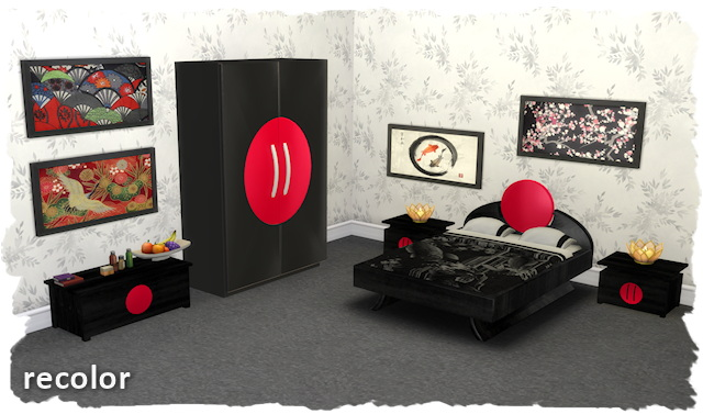 Sims 4 Japanese bedroom by Chalipo at TSR