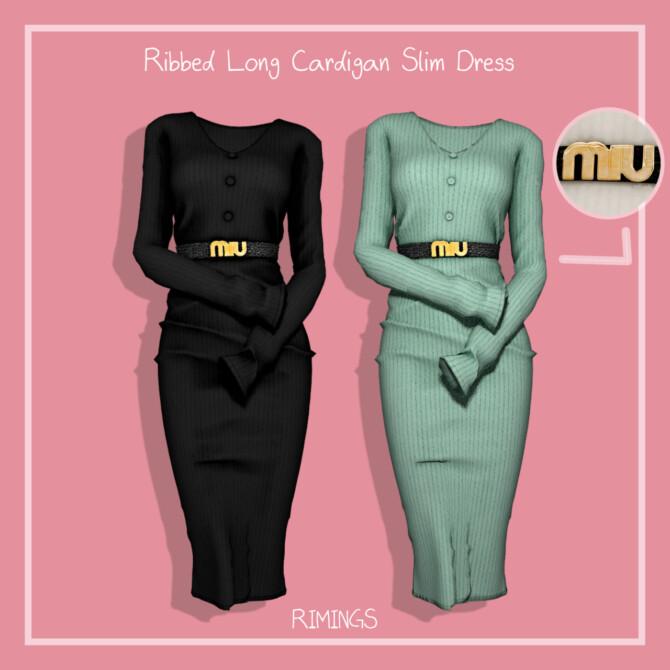Sims 4 Ribbed Long Cardigan Slim Dress at RIMINGs