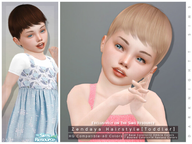 Sims 4 Zendaya Hairstyle Toddler by DarkNighTt at TSR