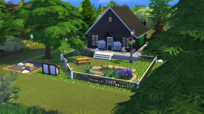 Small Black Log Cabin For 3 Sims By Archie