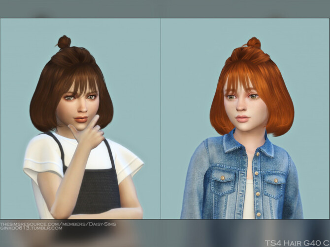 Sims 4 Child Hair G40C mid length half updo buns by Daisy Sims at TSR