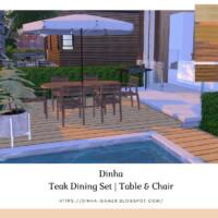 Teak Dining Set: Table & Chair (garden)