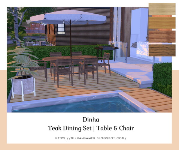 Teak Dining Set: Table & Chair (garden)