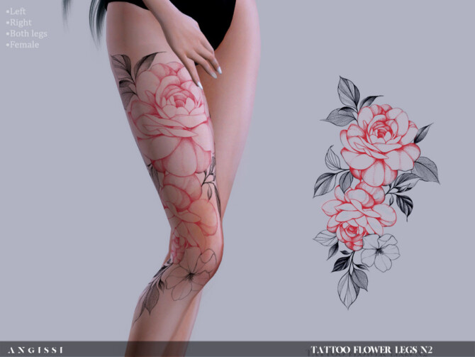 Sims 4 Flower legs N2 Tattoo by ANGISSI at TSR