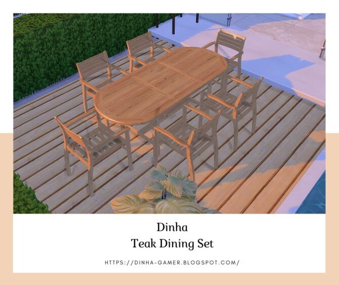 Sims 4 Teak Dining Set: Table & Chair (Garden) at Dinha Gamer