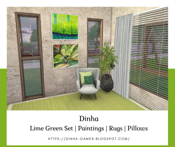 Lime Green Set: Paintings, Rugs & Pillows