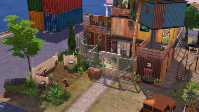 Sims 4 Atypical house built with 3 shipping containers at Studio Sims Creation