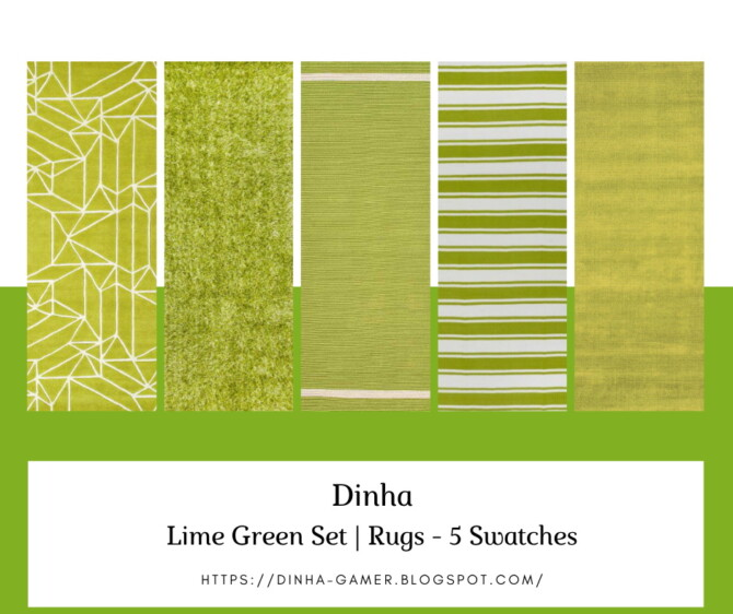 Sims 4 Lime Green Set: Paintings, Rugs & Pillows at Dinha Gamer