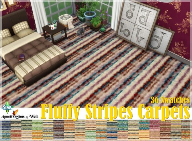 Sims 4 Fluffy Stripes Carpets at Annett's Sims 4 Welt
