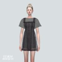 Punching Lace Mini Dress With T