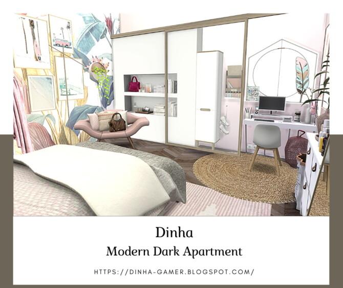 Sims 4 MODERN DARK APARTMENT at Dinha Gamer