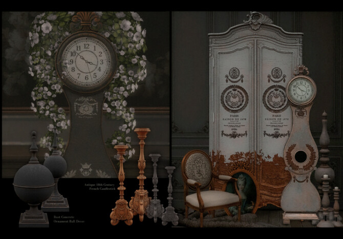 Sims 4 PARISIAN PART II antique french collection pack at AggressiveKitty
