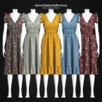 Shirred Waist Ruffle Dress