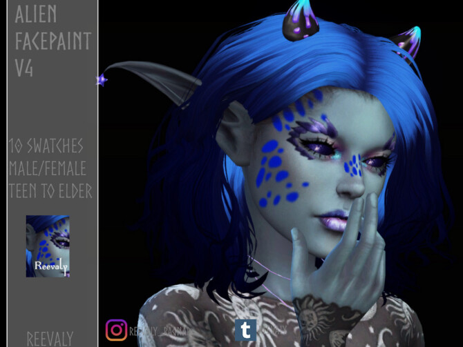 Sims 4 Alien Facepaint V4 by Reevaly at TSR