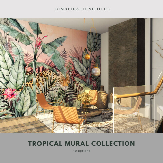 Sims 4 Little tropical mural collection at Simspiration Builds