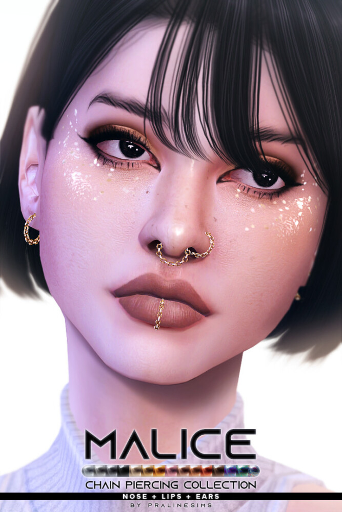 Sims 4 MALICE Chain Piercing Collection at Praline Sims