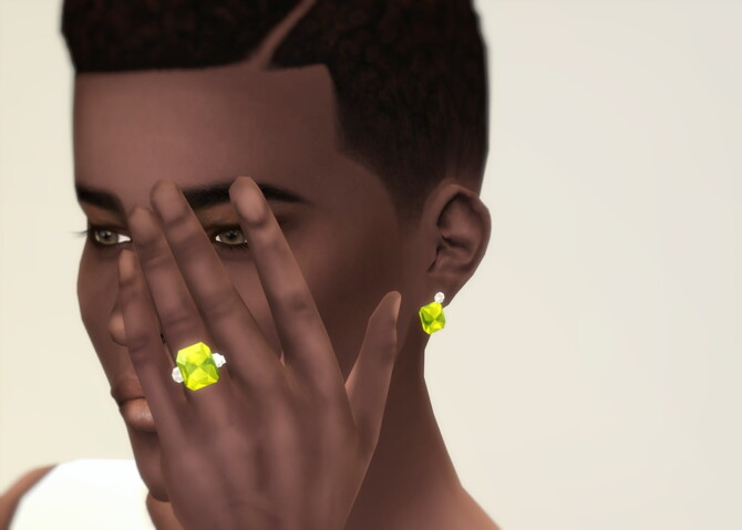 Sims 4 M Jewelry V Set: earrings & ring at Rusty Nail