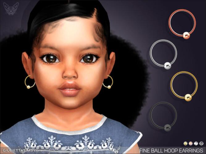 Fine Ball Hoop Earrings For Toddlers