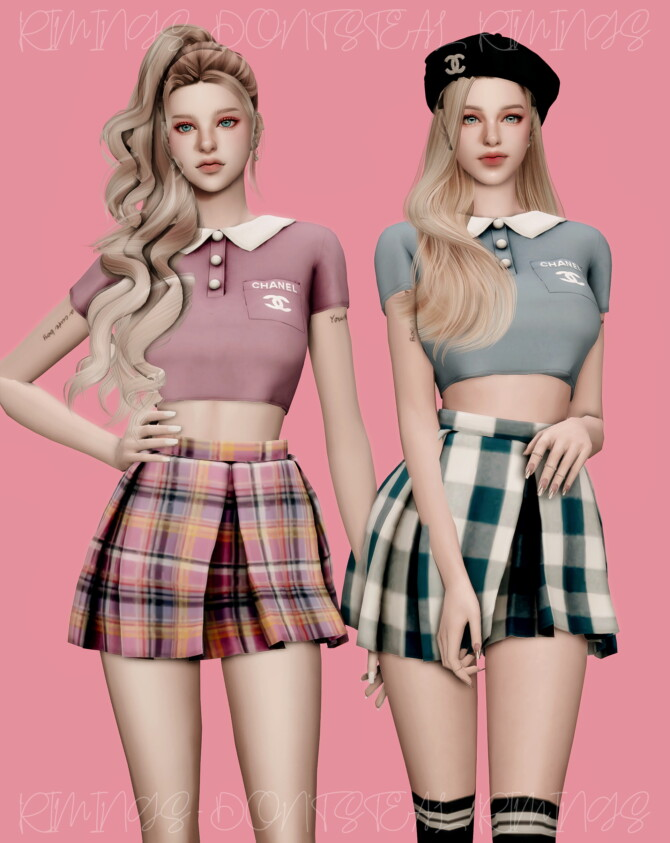 Sims 4 Sleeved Collar T shirt & Check Short Pleats Skirt at RIMINGs