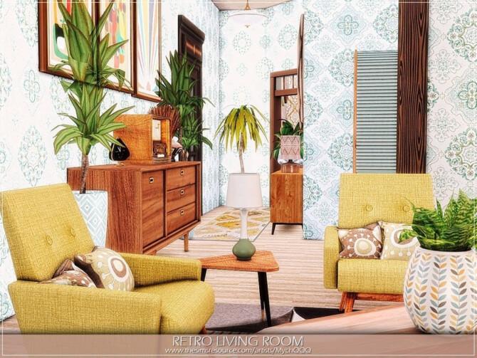 Sims 4 Retro Living Room by MychQQQ at TSR