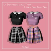 Sleeved Collar T-shirt & Check Short Pleats Skirt
