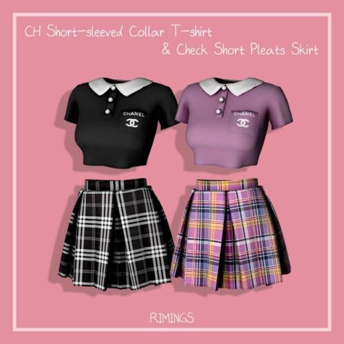 Sleeved Collar T-shirt & Check Short Pleats Skirt