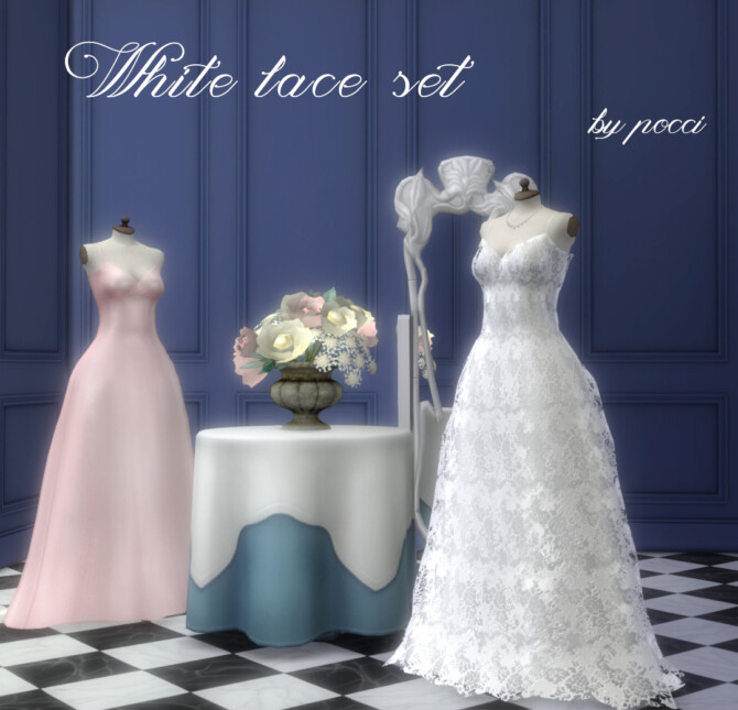Sims 4 White lace set by pocci at Garden Breeze Sims 4
