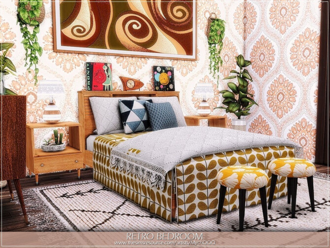 Sims 4 Retro Bedroom by MychQQQ at TSR