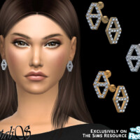 Diamond Hexagon Stud Earrings By Natalis
