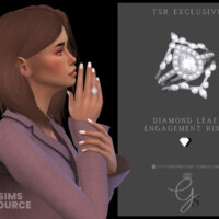 Diamond Leaf Engagement Ring By Glitterberryfly