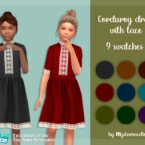 Corduroy Dress With Lace By Mysteriousoo