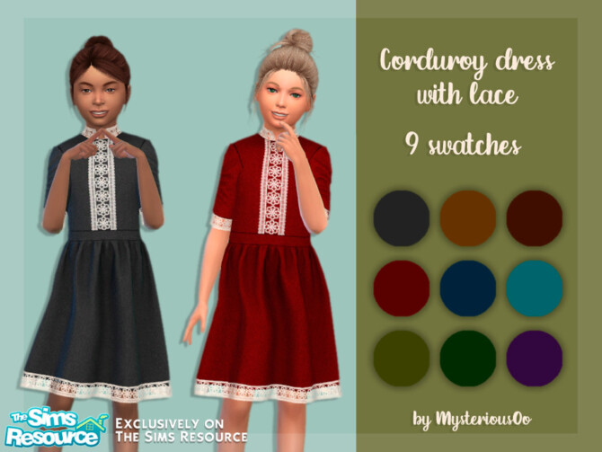 Sims 4 Corduroy dress with lace by MysteriousOo at TSR