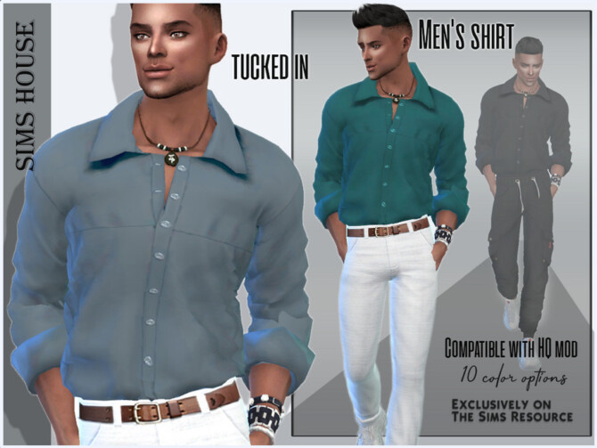 Sims 4 Mens shirt tucked in by Sims House at TSR