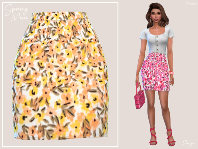Sims 4 Spring Mini Skirt by Paogae at TSR