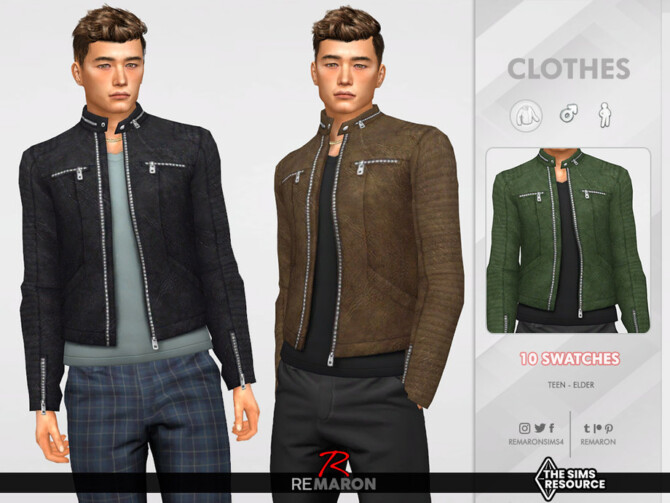 Sims 4 M Leather Jacket 01 by ReMaron at TSR