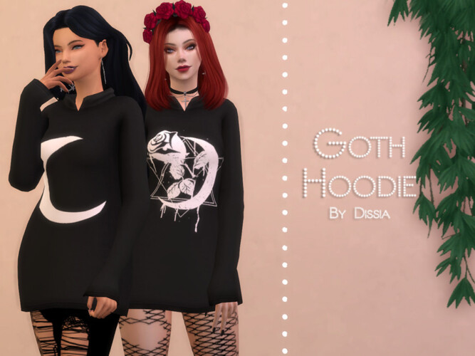 Goth Hoodie By Dissia