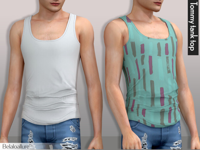 Sims 4 Tommy tank top by Belaloallure at TSR