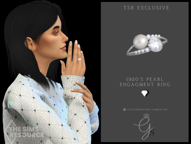 Sims 4 1920s Pearl Engagement Ring by Glitterberryfly at TSR