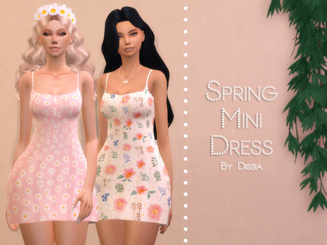 Sims 4 Spring Mini Dress by Dissia at TSR