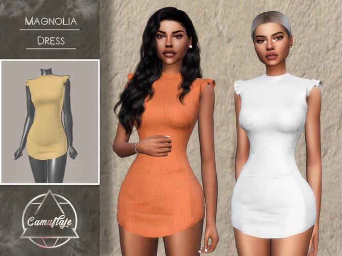 Sims 4 Mangolia Dress by CAMUFLAJE at TSR