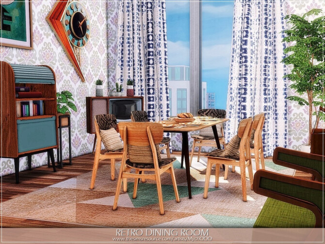 Sims 4 Retro Dining Room by MychQQQ at TSR